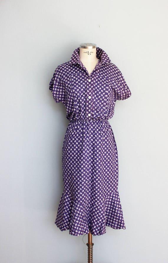 Vestido Años 60 Vestido De Verano Vestidos De Algodón Midi Secretario Vestido Algodón Lila Patrón De La Hoja Talla Sm