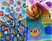 Combo pack of crochet baby blanket pattern ,crochet blanket with fish motifs,minion blanket,crochet minion granny square blanket, minion