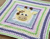 Crochet blanket pdf pattern- giraffe blanket- crochet gray square blanket pattern