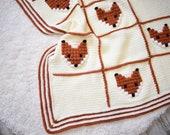 """Crochet baby blanket pattern """"Foxyland"""", crochet blanket with foxes, crochet bobble graphgan pdf pattern"""