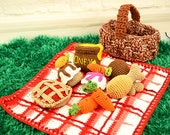 Crochet food, picnic set, picnic food, children paly set, food set, PDF pattern,