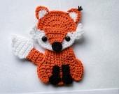 Crochet fox applique pdf pattern, INSTANT DOWNLOAD PATTERN, forest animal applique, embelishment