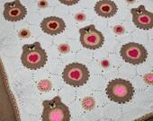 Crochet Be my Valentine bear blanket- instant download pattern- crochet heart bears baby blanket pattern- baby blanket with hearts and bears