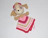Crochet Paw Patrol Skye lovey, safety blanket, PDF pattern, baby blanket, children,