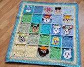 Paw patrol inspired granny square baby blanket, Crochet granny square blanket, afghan, throw,Paw patrol granny square,PDF pattern, Blueprint