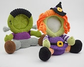 Frankenstein and Witch crochet photo frame pattern, PDF, Halloween decor, home decor, Combo pack