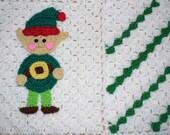 Crochet Christmas elf applique baby blanket christmas decoration crochet elf afghan throw decorations