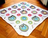 Wisy Bisy Owl motif Baby blanket, baby nursery,afghan, instant download  pdf pattern, owlette blanket, throw