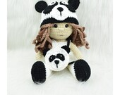 Crochet Panda Doll Pattern, Crochet Amigurumi doll- crochet Panda outfit