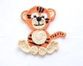 Crochet tiger applique, baby blanket decorative tiger applique, PDF pattern