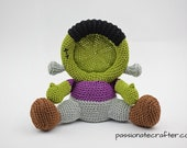 Crochet Frankenstein photo frame pattern, PDF, crochet pattern, home decor, Halloween,Halloween photo frame, children