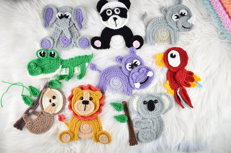 Crochet jungle appliques pattern. 9 appliques SET image 0
