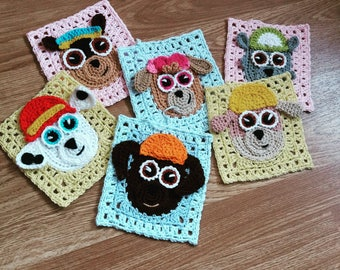 Paw patrol inspired granny squares,crochet dog granny square,baby blanket,toddler throw,PDF PATTERN,instant download