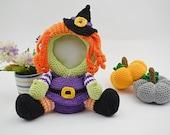 Crochet Photo frame pattern, Witch photo frame PDF pattern, Blueprint, Halloween home decor, Children's Photo Props, Accessories