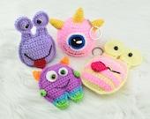 Halloween pocket monsters keychains crochet pdf pattern- INSTANT DOWNLOAD PATTERN- funny, spooky monsters amigurumi