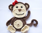 Crochet monkey applique, baby blanket decoration, jungle animal applique