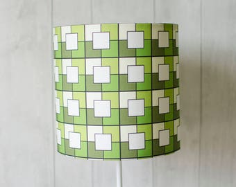 Green Geometric Lampshade, Geometric Table lamp. Green lamp shade, geometric decor, lampshade, lighting, retro decor, bedside lamp shade
