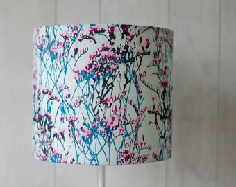 Contemporary floral lampshade, blue home decor, bedside lamp, blue table lamp, handmade lamp, drum lampshade, floor lamp, lamp shade,