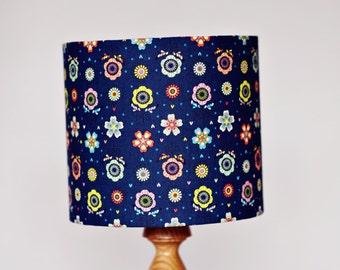 Navy blue lamp shade, floral lampshade, navy blue decor, bedside lamp, handmade lampshade, table lamp, lampshade, lighting, bedroom decor