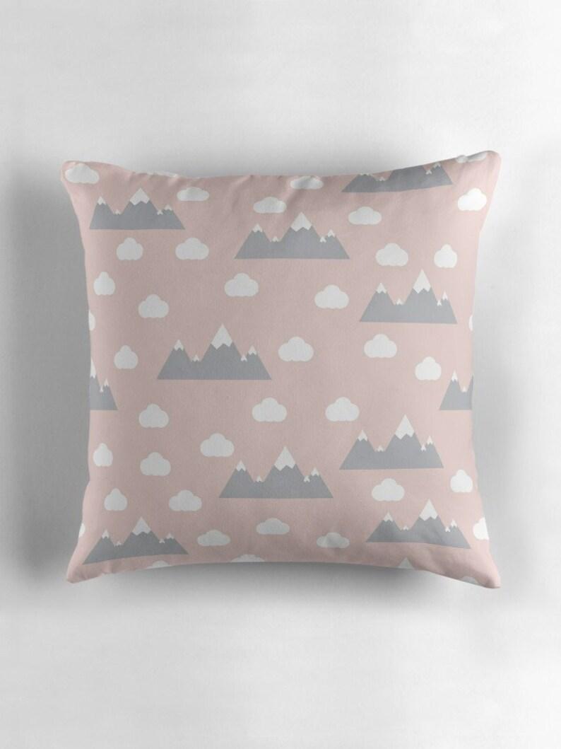 Pink Clouds Cushion Mountain Cushion Nursery Decor Pink Nursery Decor Pink Nursery Cushion Pale Pink Cushion Pink Scandi Cushion