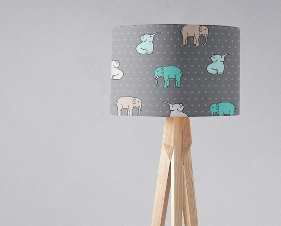 Elephant lamp shade, Elephant nursery decor, Boys nursery lamp, Boys  bedroom lamp, Elephant theme, Grey lampshade, Handmade light shade