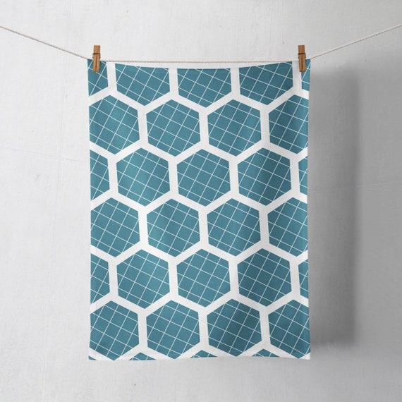 Blue Tea Towels Geometric Kitchen Decor Housewarming Gift Hexagon Dish Towel Teal Kitchen Towels Blue Geometric Home Decor