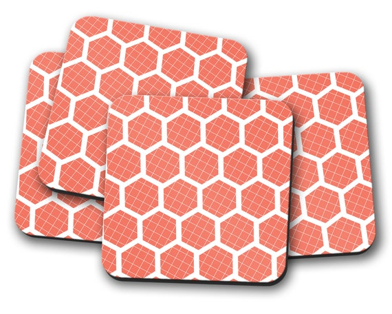 Burnt Orange geometric set of coasters single coaster