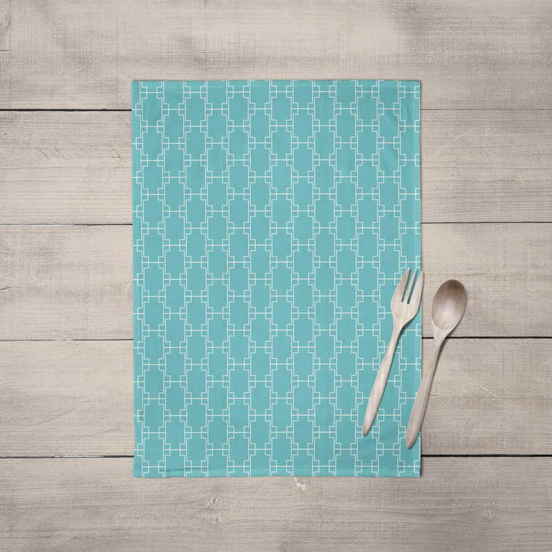 aqua tea towels blue kitchen accessories geometric tea | etsy