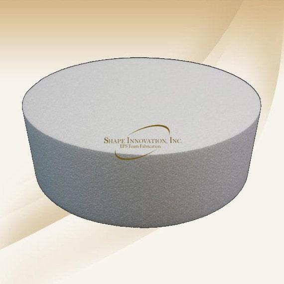 "ROUND CAKE DUMMY w//rounded edges 3/"" or 4/"" Thick 6/""-15/""EPS Foam Wedding Disc Fake"
