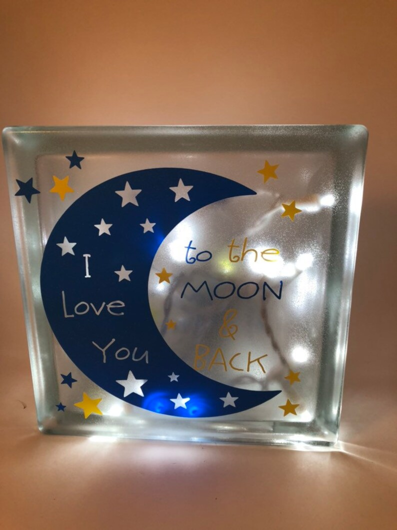 I Love You to the Moon & Back Block Night Light Blue