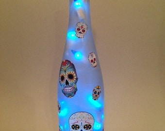 Sugar Skull Wine Bottle Lamp (in your color choice)