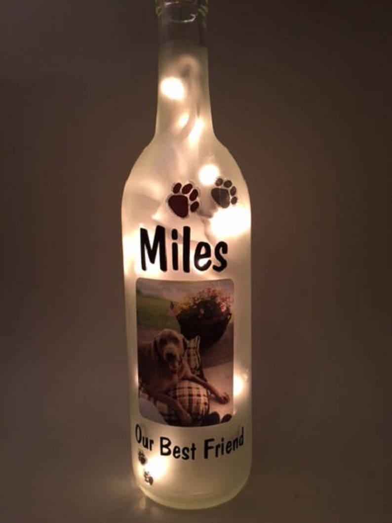 Personalized Pet Photo Wine Bottle Light