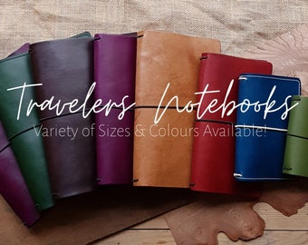 Leather Travelers Notebook Cover in a variety of Sizes & Colours, Click to explore!