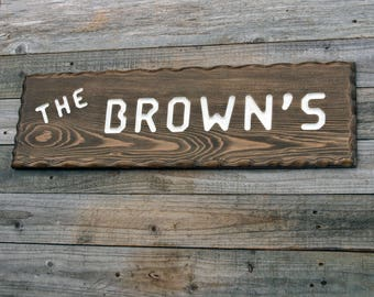 Outdoor Name Sign, Custom Carved Cedar, Rustic Wood Decor, Personalized Sign, Cabin Sign, Adirondack Style