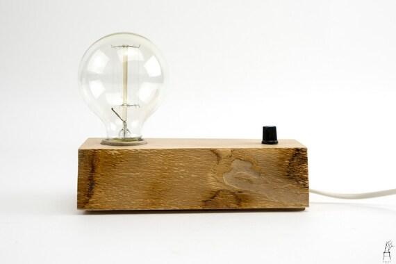 Edison de lampe de bureau bois fait à la main avec variateur etsy