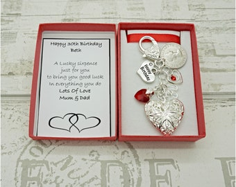 Personalised Happy 30th Birthday Gift Red Heart Locket Lucky Sixpence Charm Keyring Box Choice Of And Number