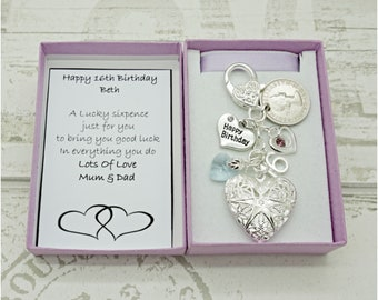 Personalised Happy 16th Birthday Gift Lilac Heart Locket Lucky Sixpence Charm Keyring Box Choice Of And Number