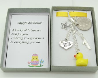 Nephew easter etsy personalised 1st easter gift yellow duck charm lucky sixpence gift personalised gift box choice of charms daughter son nephew negle Image collections