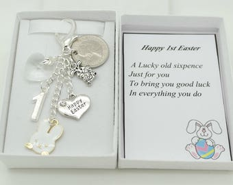 Nephew easter etsy personalised 1st easter gift lucky sixpence gift personalised gift box choice of charms and colours daughter sister nephew son negle Image collections
