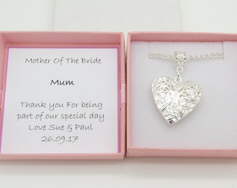 Mother of the bride necklace. Keepsake gift. Heart locket necklace . Personalised gift box. Wedding favour gift.