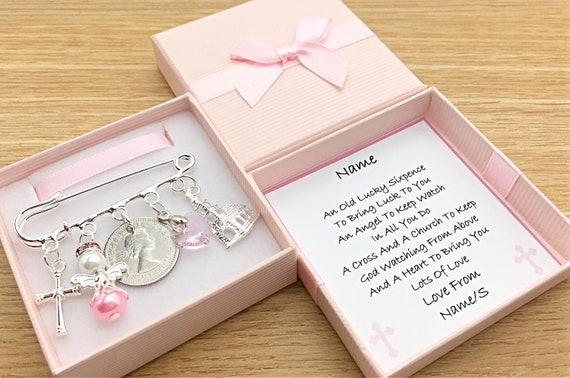 Godson Goddaughter Lucky Sixpence Baptism Naming Day Teddy Cross Heart Gift Box