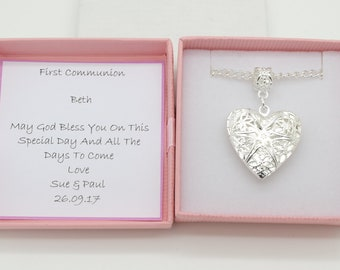 First communion necklace gift.  heart locket necklace . Personalised gift box. Religious gift.