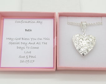 Confirmation necklace gift.  heart locket necklace . Personalised gift box. Religious gift.