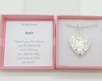 Bridesmaid necklace. Keepsake gift. Heart locket necklace . Personalised gift box. Wedding favour gift. Thank you for being my bridesmaid