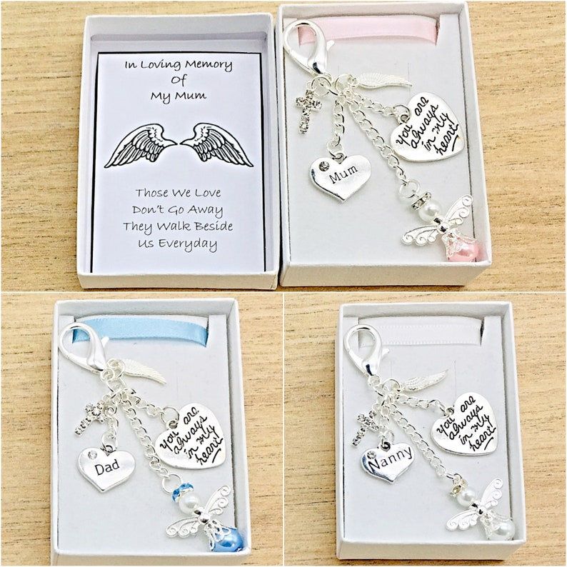 Bag Clip Charms Mum Daughter Nana Sister Angels Watching Over Me Love You Heart