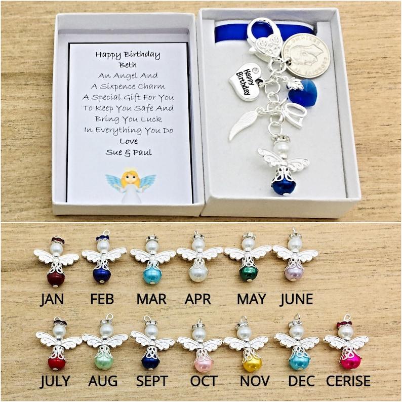 Sixpence Keyring Keepsake Gift Happy Birthday 18th 21st 30th 40th 50th 60th 70th
