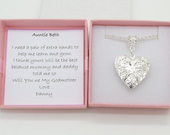 Will you be my Godmother. necklace. Heart locket necklace . Personalised gift box. Christening gift. Godmother keepsake gift