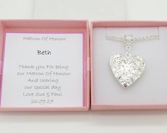 Matron of honour necklace. Keepsake gift. Heart locket necklace . Personalised gift box. Wedding favour gift. Thank you keepsake gift