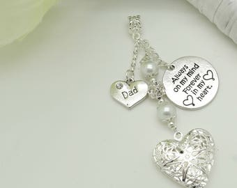 Bridal bouquet photo charm. Fancy Heart locket. Always on my mind forever in my heart. In loving memory. Choice of family heart charms
