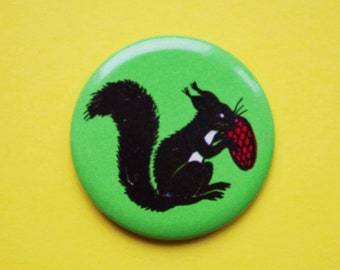 Vintage 4 cm (1.57'') fairytale squirrel rodent animal russian childrens kids brooch badge pin pinback button token clasp pinion tin metal